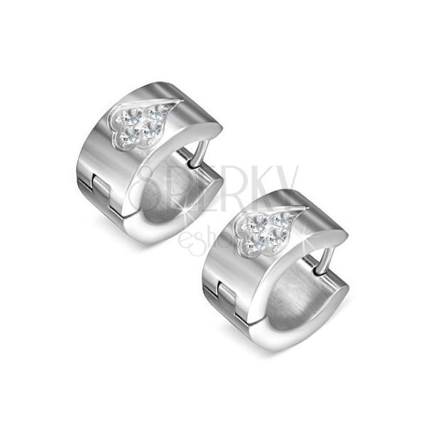 68103a0f2 Leštené oceľové náušnice, kruhy so zirkónmi, pikový list | Šperky Eshop
