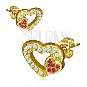 Oceľové náušnice zlatej farby, dve srdcia, červené a číre kamienky