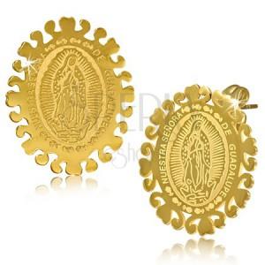 Oválne oceľové náušnice zlatej farby, Nanebovzatie Panny Márie