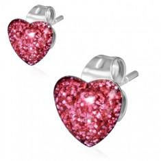 Oceľové náušnice, ružové trblietavé srdce