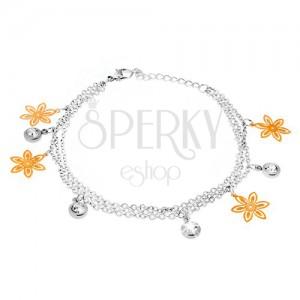 Náramok na ruku - tri retiazky, kvety zlatej farby, kruhové objímky s kamienkami