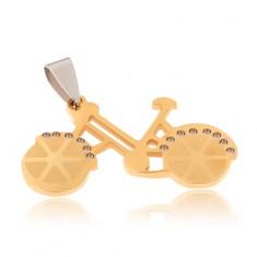 Šperky eshop - Prívesok z chirurgickej ocele - bicykel zlatej farby, číre zirkóny S36.04