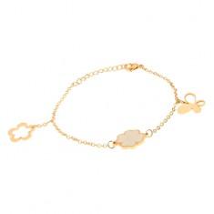 Šperky eshop - Oceľový náramok na ruku zlatej farby, retiazka, motýľ, štvorlístok, kvet S36.08