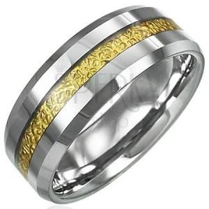 Tungstenový prsteň so vzorovaným pruhom zlatej farby, 8 mm