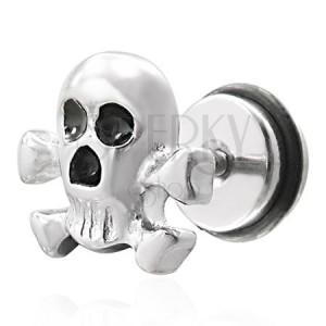 Falošný piercing pirátska lebka - fake plug