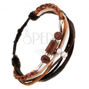 Multináramok - hnedý kožený pletenec, šnúrky, korálky a valčeky