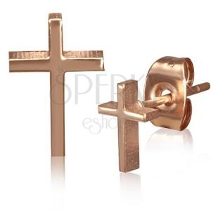 Puzetové náušnice zlatej farby z chirurgickej ocele, kríž