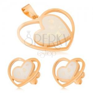 Set z ocele zlatej farby - náušnice a prívesok, biele perleťové srdcia