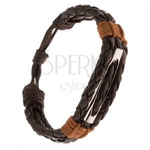 Náramok - tri čokoládovohnedé pletence, škoricovohnedá šnúrka, rúrka
