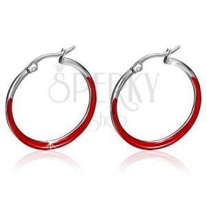 Náušnice z chirurgickej ocele - tenké kruhy, lesklá červená glazúra