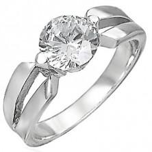 Zásnubný prsteň z chirurgickej ocele, veľký číry zirkón, výrezy na ramenách