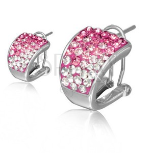 Oblé klipsové náušnice z ocele, kamienky ružovej a čírej farby