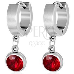 Okrúhle náušnice z ocele - brúsený červený kamienok v kruhovej objímke