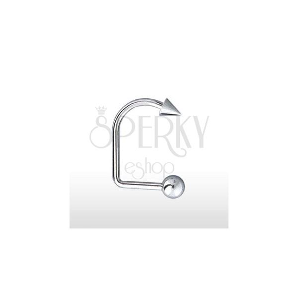 Piercing do brady a pery zahnutý s guličkou a hrotom 4 mm / 5 mm