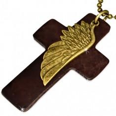 Šperky eshop - Náhrdelník - hnedý kožený kríž, krídlo, armádna retiazka S40.12