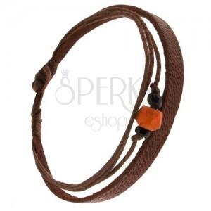 Náramok - gaštanovohnedý pás kože, šnúrky, korálky, oranžová ozdoba
