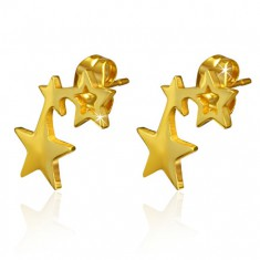 Zlaté oceľové náušnice - dve lesklé plné hviezdičky a jeden obrys hviezdy