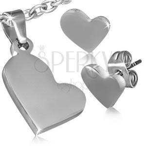 Oceľový set - prívesok a puzetové náušnice, asymetrické srdcia