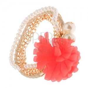 Multináramok - zlaté retiazky, béžový pletenec, korálky, lososový kvet