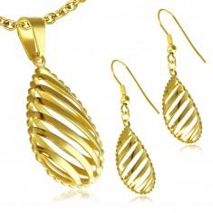 Sada z ocele - zlaté náušnice a prívesok, vyrezávaná slza, diagonálne pásy