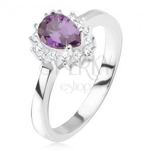 Strieborný prsteň 925 - fialový slzičkový kamienok, zirkónová obruba