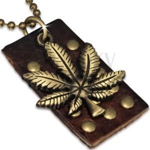 Armádna retiazka v zlatom odtieni s koženou vybíjanou známkou, list