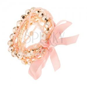Multináramok - ružové a biele korálkové šnúrky, perličky, mašľa