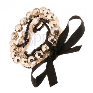 Multináramok - čierne a biele korálkové šnúrky, perličky, mašľa