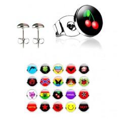 Šperky eshop - Puzetové oceľové náušnice rôzne vzory, číra glazúra AB28.01/20 - Tvar hlavičky: Delfín