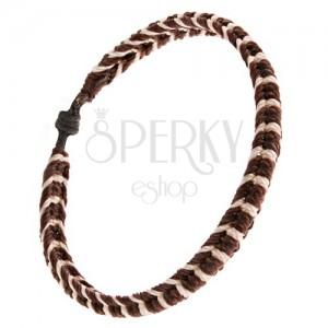 Pletený šnúrkový náramok, čokoládovohnedá húsenica, biele prúžky