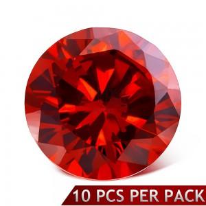 Okrúhly brúsený kamienok červenej farby, 3 mm