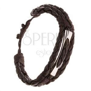 Náramok - tri čokoládovohnedé pletence a šnúrka, lesklá rúrka