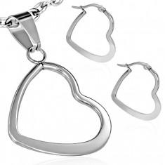 Sada z ocele - náušnice a prívesok, plochá lesklá kontúra srdca