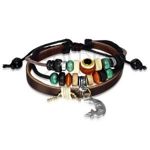 Multináramok - kožený pás, šnúrky, drevené a kovové korálky, mesiačik