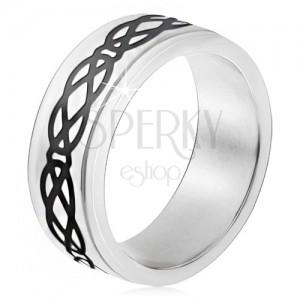 Oceľový prsteň, vyvýšený pás, motív sĺz a kosoštvorcov, hrubé línie