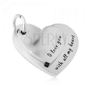 Oceľový prívesok - väčšie a menšie srdce s vyznaním lásky
