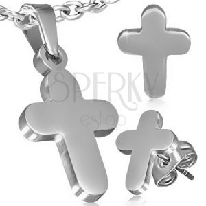 Set z ocele - prívesok a náušnice, hladký latinský kríž