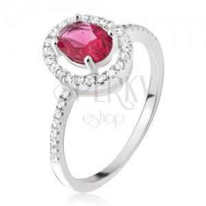 Strieborný prsteň 925 - oválny ružovočervený kamienok, zirkónová obruba