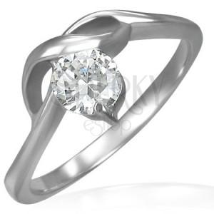 Zásnubný prsteň s okrúhlym čírym zirkónom a jemnými vlnkami