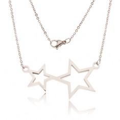 Šperky eshop - Náhrdelník z ocele, retiazka a kontúry dvoch hviezd S45.21