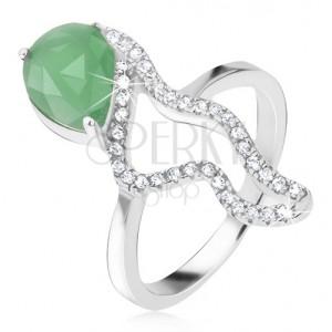 Prsteň zo striebra 925 - zelený slzičkový kameň, morský koník