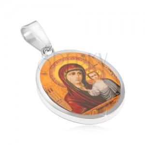 Prívesok z chirurgickej ocele, Panna Mária a Ježiš, žlté pozadie