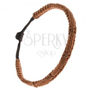 Orieškovohnedý náramok, pletený pás, tri šnúrky na povrchu