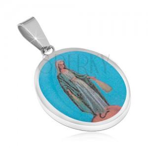 Prívesok z chirurgickej ocele - oválna známka, Madona v belasom rúchu