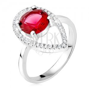Strieborný prsteň 925 - okrúhly červený kameň, slzičková kontúra zo zirkónov