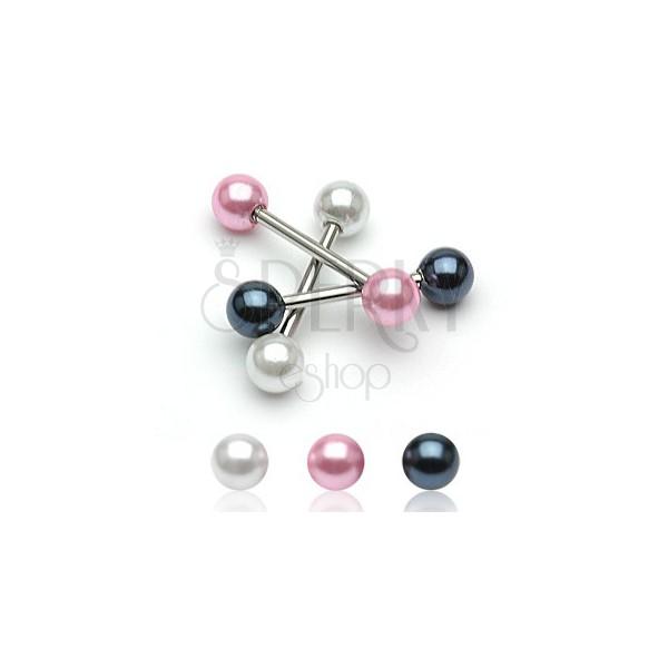 Piercing do jazyka s perleťovou guličkou