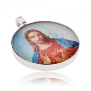 Okrúhly oceľový medailón, Ježiš v červeno-modrom rúchu