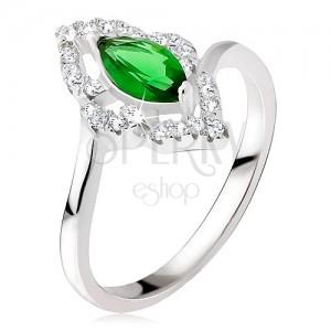 Strieborný prsteň 925 - elipsovitý kamienok zelenej farby, zirkónová kontúra