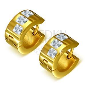 Okrúhle náušnice z ocele zlatej farby, tri číre štvorcové kamienky