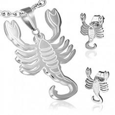 Oceľový set so znamením Škorpión, prívesok a puzetové náušnice